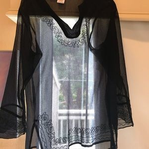 Sand N Sun sheer swimsuit coverup w/ embroidery! M